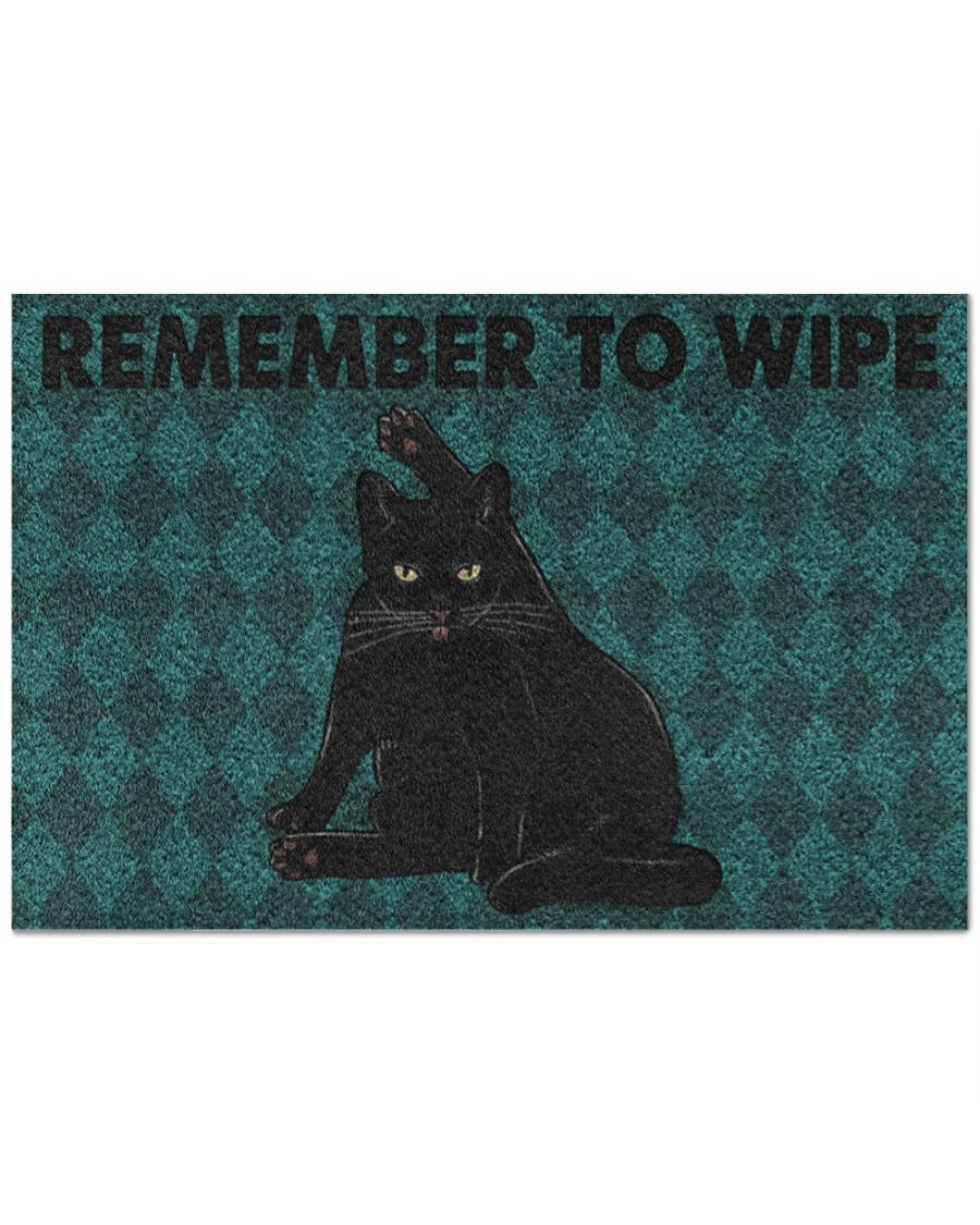 black cat remember to wipe full printing doormat - maria
