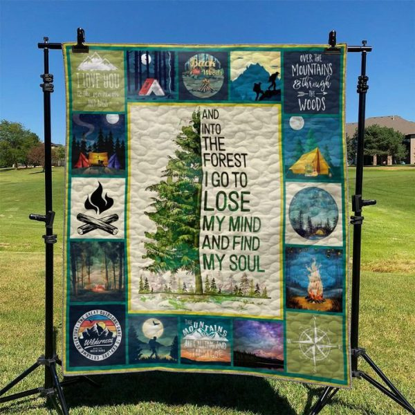 [Top-selling] camping and into the forest i go to lose my mind and find my soul full printing quilt - maria