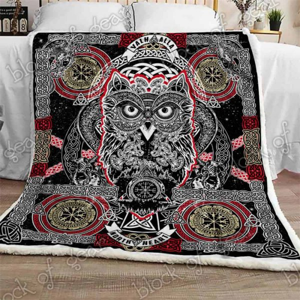 [Top-selling] celtic style owl viking all over printed blanket - maria