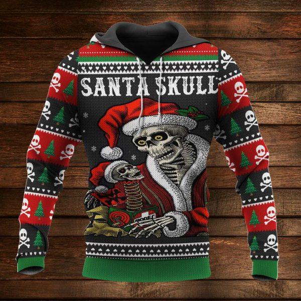 [Top-selling] christmas time and santa skull full printing shirt - maria