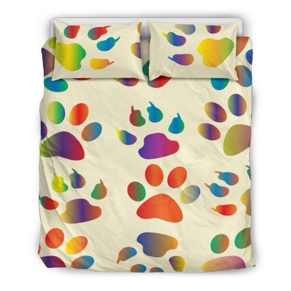 [Top-selling] colorful dog paw all over printed bedding set - maria