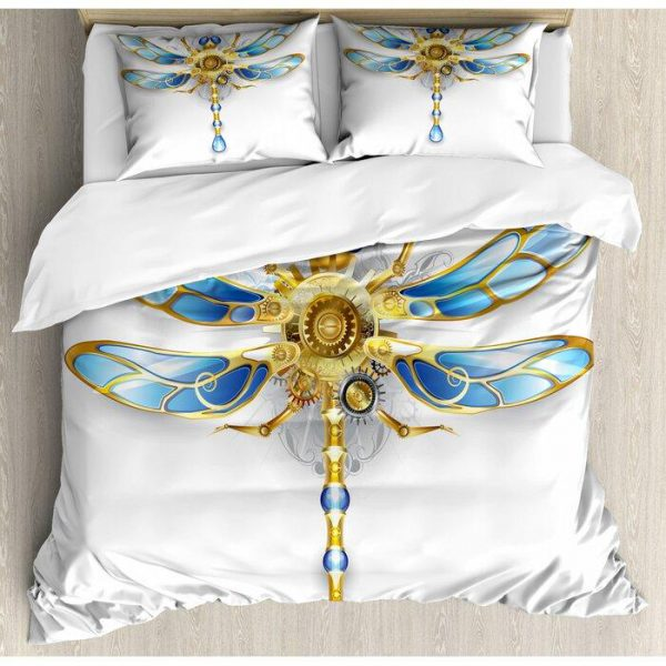 [Top-selling] crystal dragonfly all over printed bedding set - maria