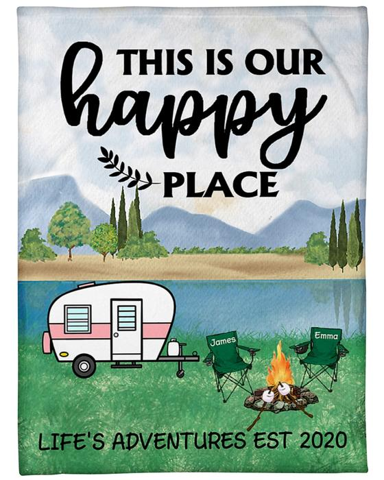 [Top-selling] custom name this is our happy place lifes adventures camping blanket - maria