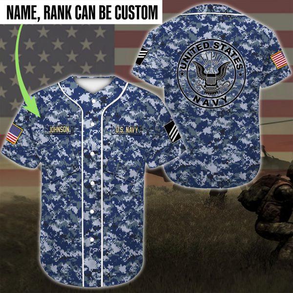 [Top-selling] custom name united states navy sea blue camo all over printed baseball shirt - maria