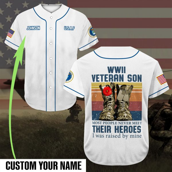 [Top-selling] custom name veteran son most people never meet their heroes full printing baseball shirt - maria