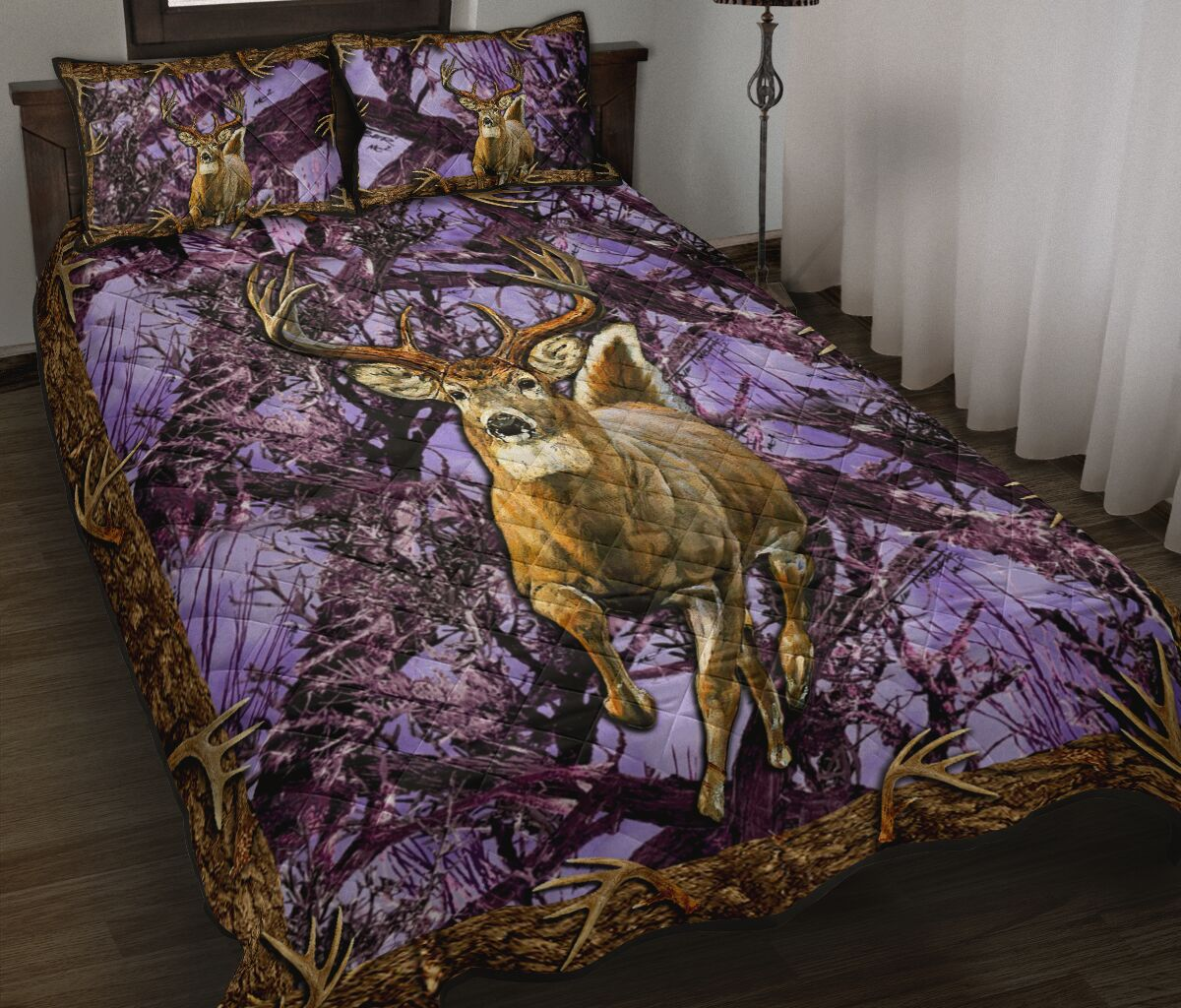 [Top-selling] deer hunter love hunting purple full printing bedding set - maria