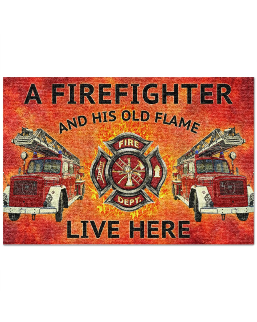 firefighter and his old flame live here full printing doormat - maria