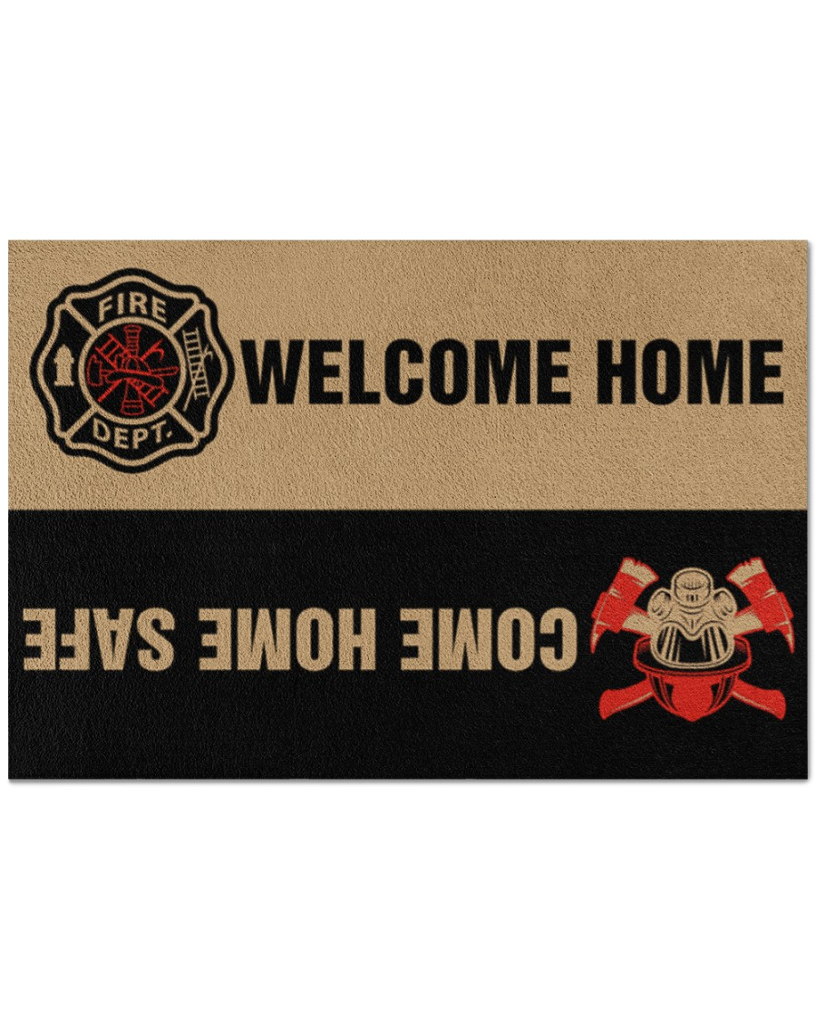 firefighter welcome home full printing doormat - maria