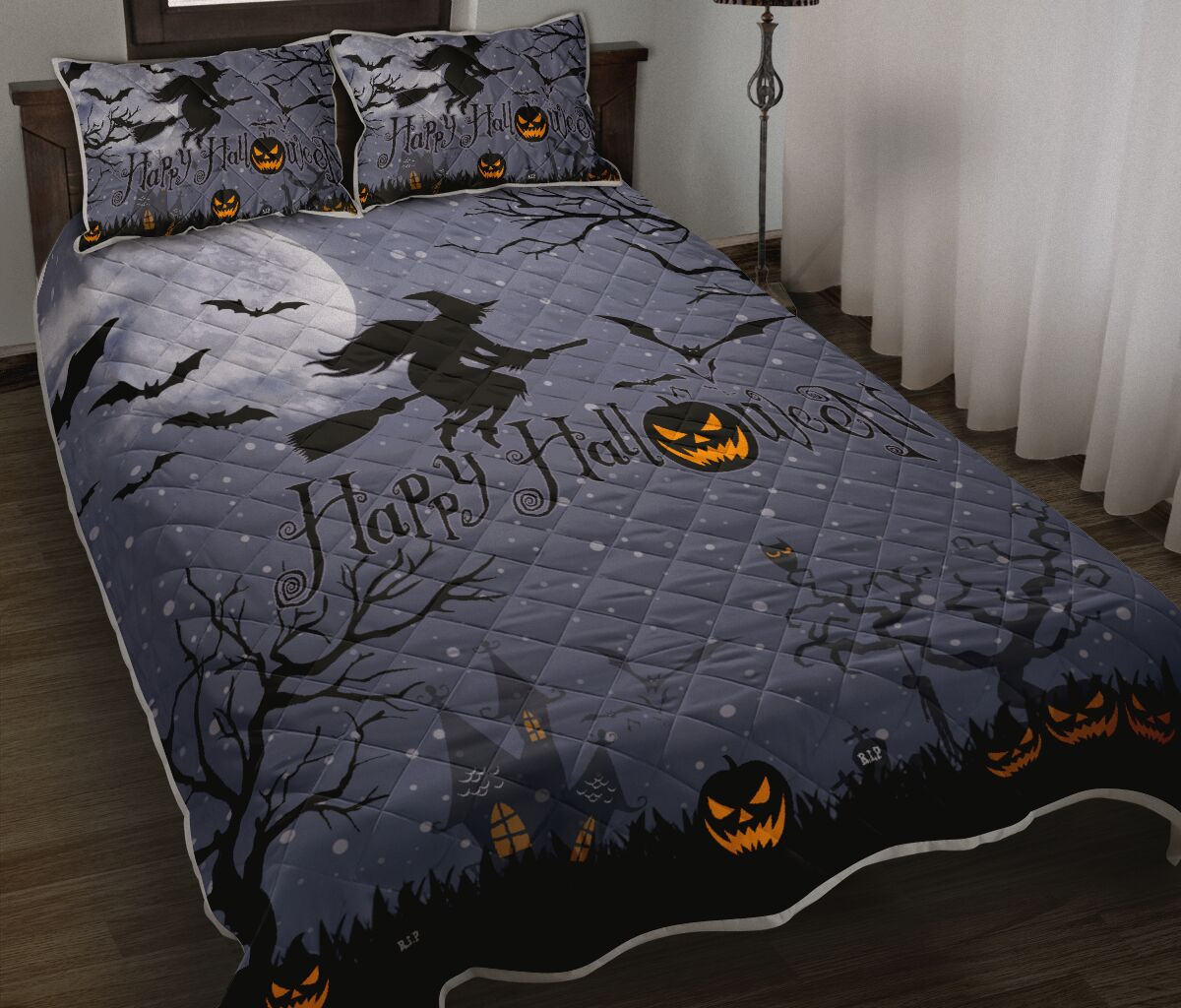 [Top-selling] happy halloween witch and pumpkin full printing bedding set - maria