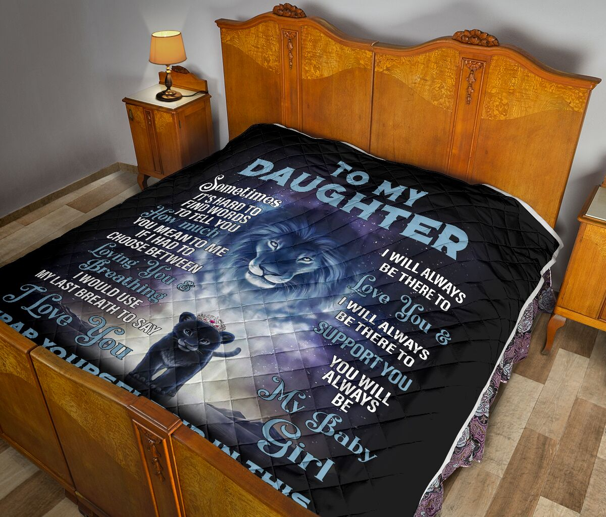 [Top-selling] lion to my daughter i love you my baby girl love dad full printing quilt - maria