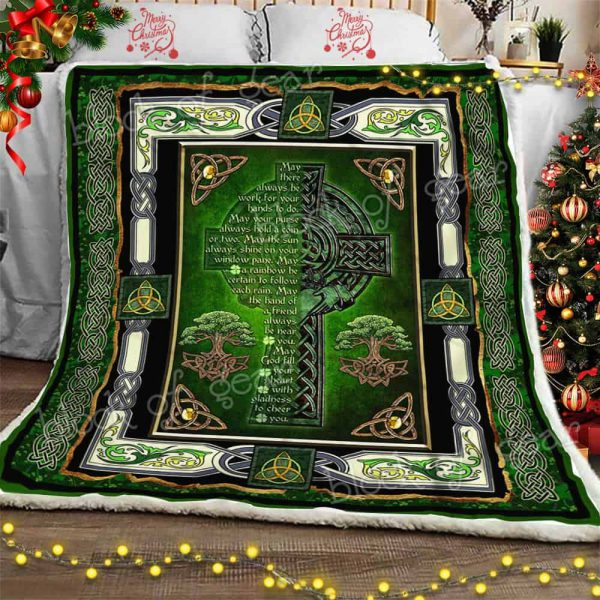 [Top-selling] may God fill your heart with gladness to cheer you irish celtic cross blanket - maria