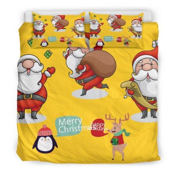 [Top-selling] merry christmas santa claus all over printed bedding set - maria