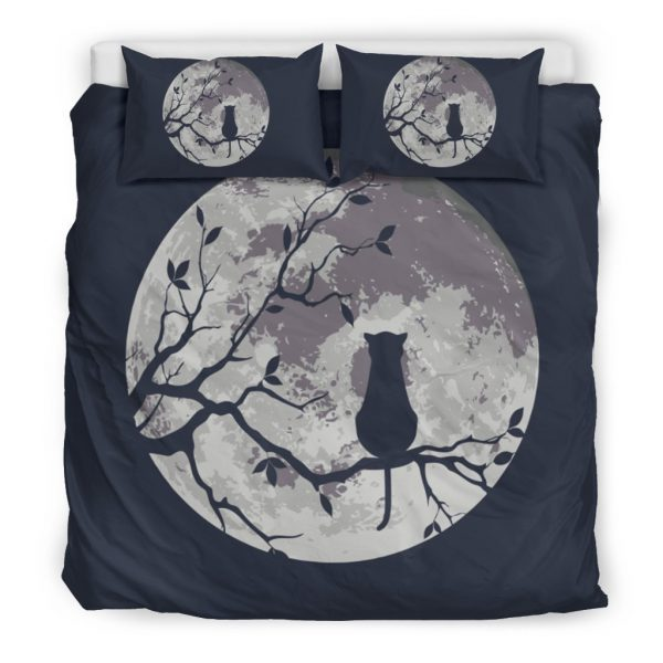 [Top-selling] moon and black cat all over printed bedding set - maria