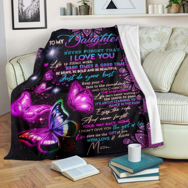 [Top-selling] night butterfly to my daughter never forget that i love you full printing blanket - maria