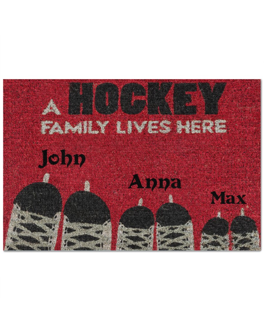 [Top-selling] personalized a hockey family lives here full printing doormat - maria