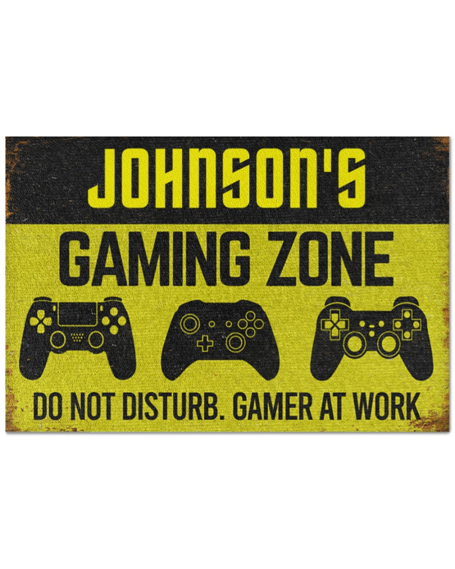 [Top-selling] personalized gaming zone do not disturb gamer at work full printing doormat - maria