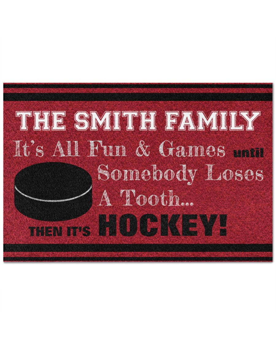 [Top-selling] personalized hockey family its all fun and game full printing doormat - maria