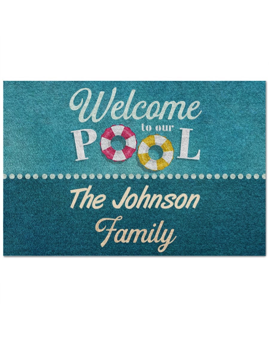 [Top-selling] personalized welcome to our pool full printing doormat - maria