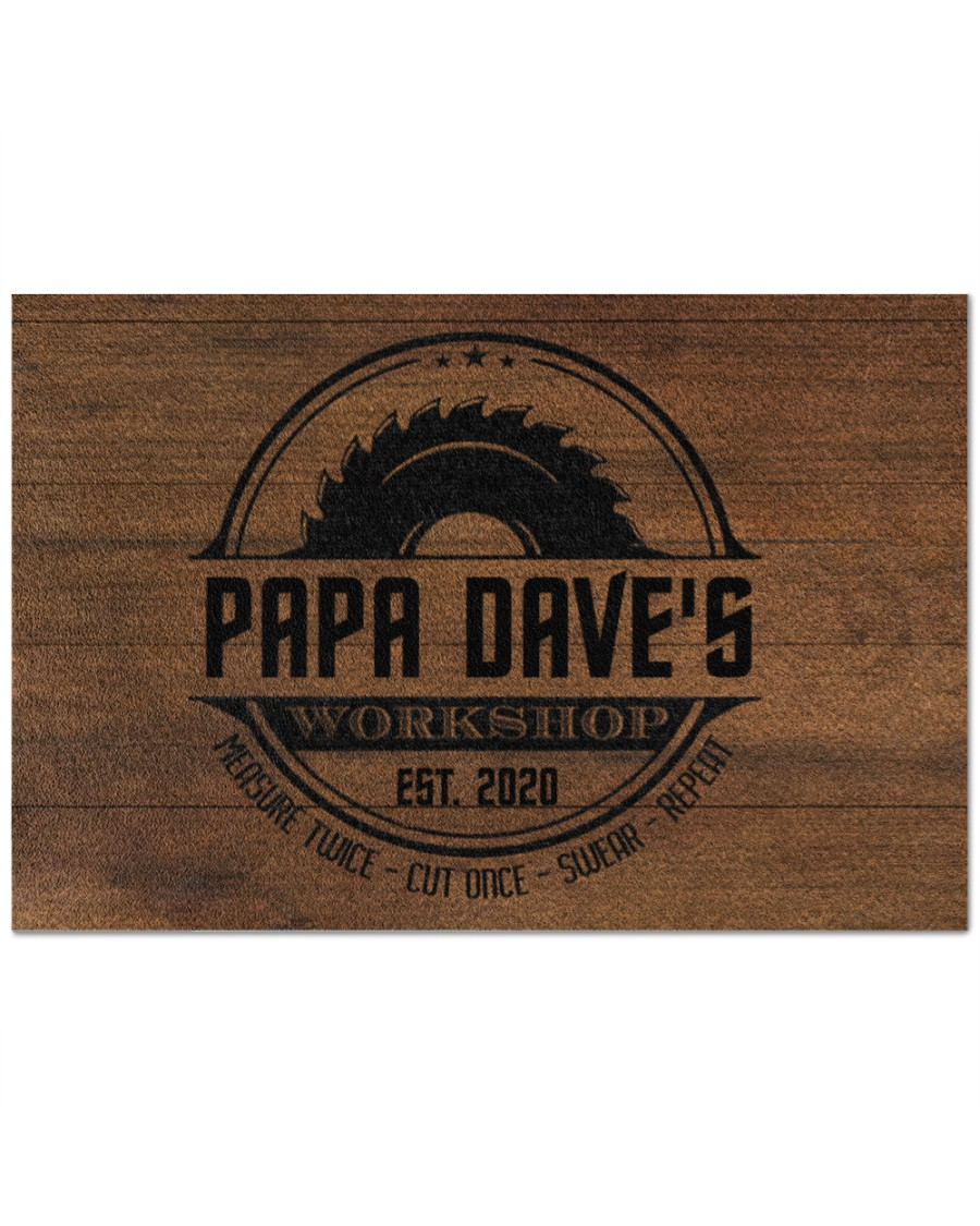 [Top-selling] personalized workshop carpenter measure twice cut once full printing doormat - maria