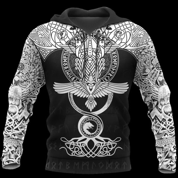 [Top-selling] raven of odin viking symbol all over printed shirt - maria