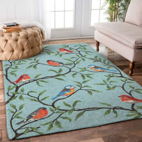 [Top-selling] retro bird on the tree all over printed rug - maria