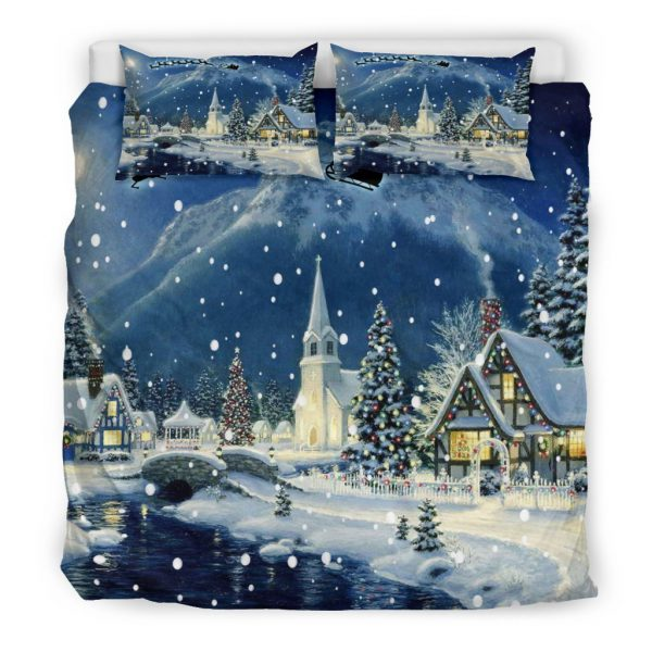 [Top-selling] snow in a christmas village all over printed bedding set - maria