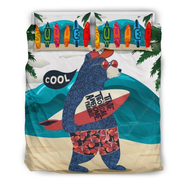 [Top-selling] surfing bear all over printed bedding set - maria