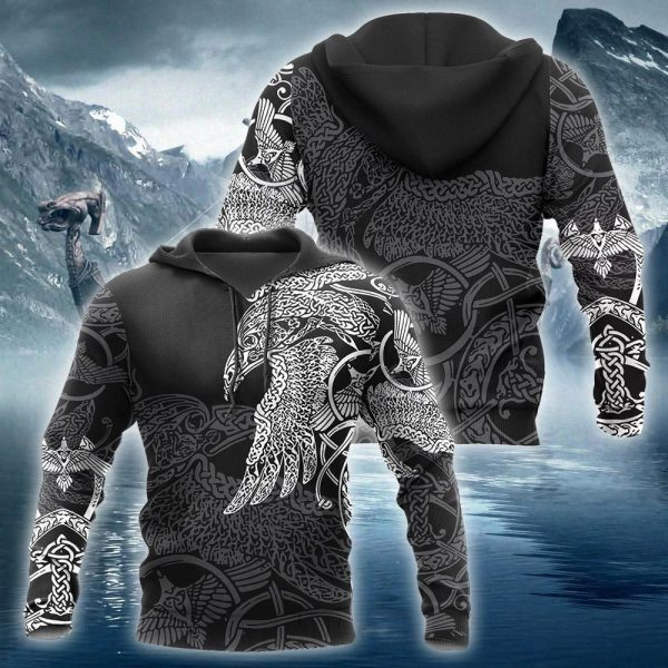 [Top-selling] viking munin raven tattoo all over printed shirt - maria