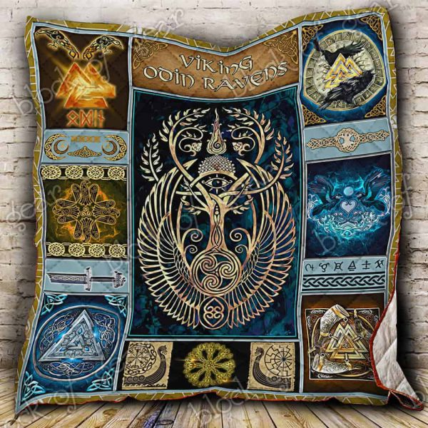 [Top-selling] viking odin ravens all over print quilt - maria