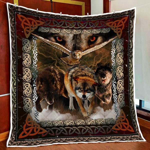 [Top-selling] viking wolves and owls all over printed blanket - maria