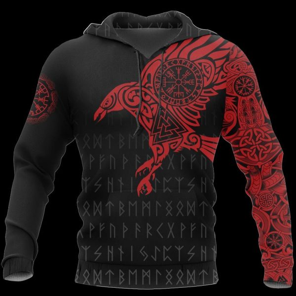 [Top-selling] vikings the raven of odin tattoo red all over printed shirt - maria