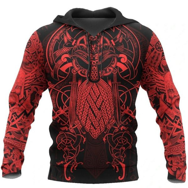 [Top-selling] vikings the raven red of odin tattoo all over printed shirt - maria