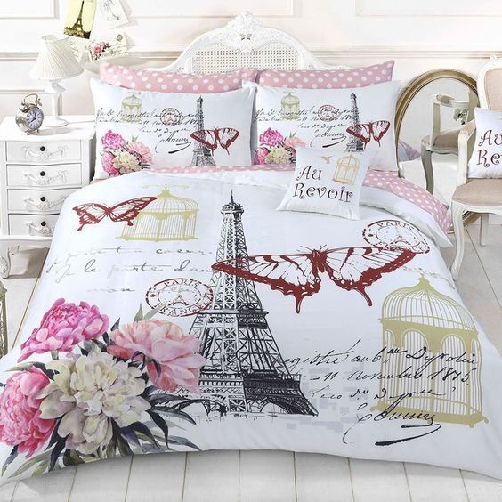 [Top-selling] vintage paris and butterfly full printing bedding set - maria
