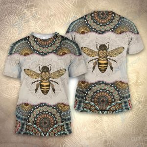 Bee mandala all over printed shirt and sweatshirt