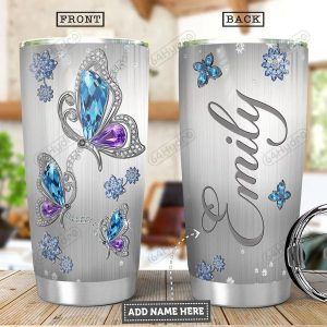 Butterfly jewelry style personalized custom name tumbler