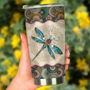 Dragonfly vintage mandala tumbler