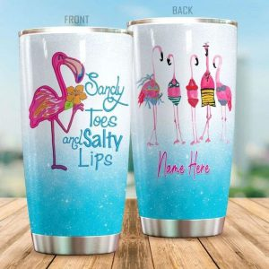 Flamingo Sandy toes and salty lips custom name personalize tumbler