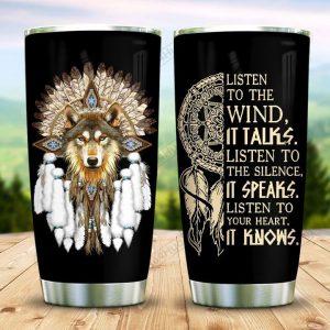Native wolf dreamcatcher tumbler