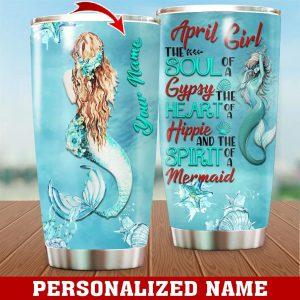 Personalized Custom Name April Girl Mermaid Tumbler