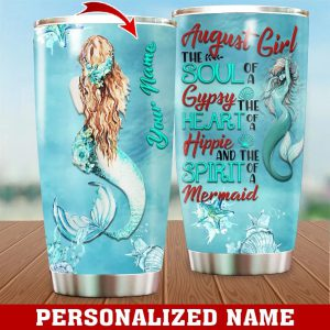 Personalized Custom Name August Girl Mermaid Tumbler