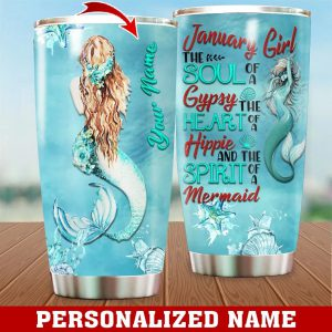 Personalized Custom Name January Girl Mermaid Tumbler