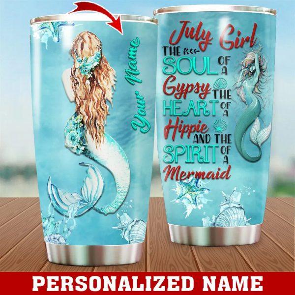 Personalized Custom Name July Girl Mermaid Tumbler