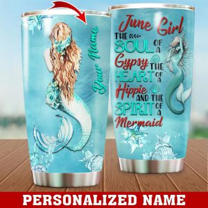 Personalized Custom Name June Girl Mermaid Tumbler
