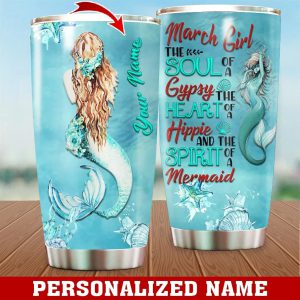 Personalized Custom Name March Girl Mermaid Tumbler