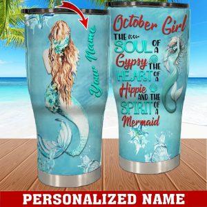 Personalized Custom Name October Girl Mermaid Tumbler 1