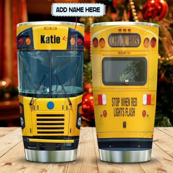 School Bus Head Personalized Custom Name Tumbler