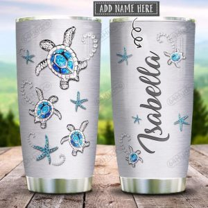 Sea Turtle Jewelry Style Personalized Custom Name Tumbler