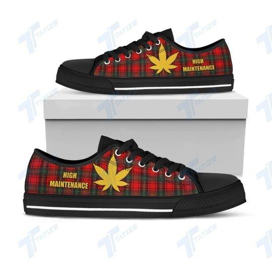 [Top-selling] christmas weed tartan pattern full printing low top shoes - maria