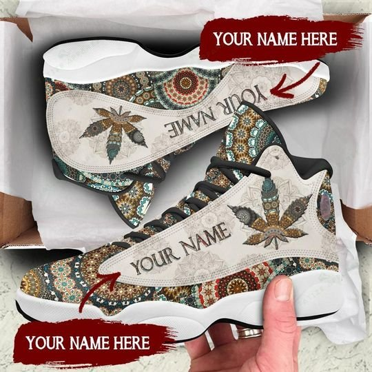 [Top-selling] custom name mandala weed leaf all over printed air jordan 13 sneakers - maria