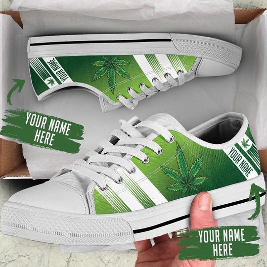 [Top-selling] custom name weed leaf green full printing low top shoes - maria